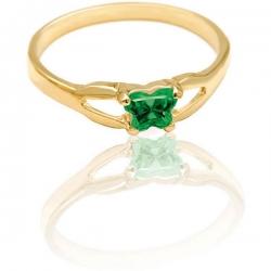 Bfly Emerald  May  Birthstone Ring