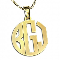 Circle Monogram 3 Letter Block Cut Out Pendant
