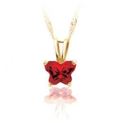 Bfly Ruby  July  Birthstone Pendant
