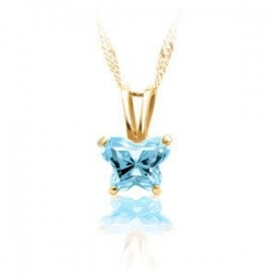 Bfly Aquamarine  March  Birthstone Pendant