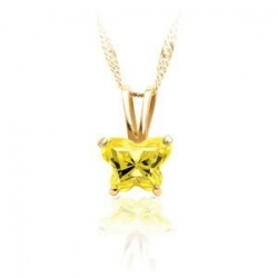Bfly Citrine  November  Birthstone Pendant