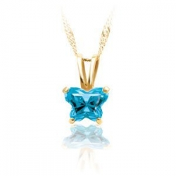 Bfly Blue Topaz  December  Birthstone Pendant