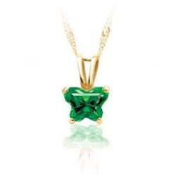 Bfly Emerald  May  Birthstone Pendant