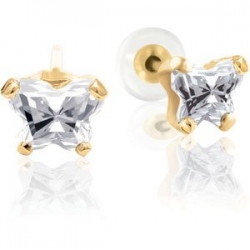 Bfly Cubic Zirconia  April  Birthstone Earrings  With Safety Back