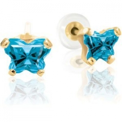 Bfly Blue Topaz  December  Birthstone Earrings  With Safety Back