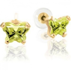 Bfly Peridot  August  Birthstone Earrings  With Safety Back
