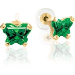 Bfly Emerald  May  Birthstone Earrings  With Safety Back