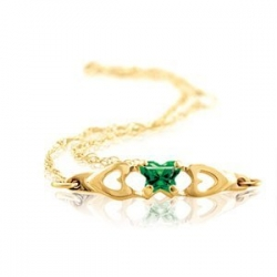 Bfly Emerald  May  Birthstone Bracelet