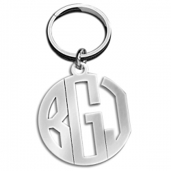 Outline Circle Monogram KeyChain