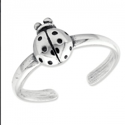 Sterling Silver Antiqued Ladybug Toe Ring