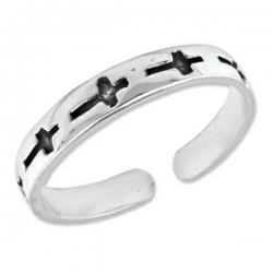 Sterling Silver Antiqued Crosses Toe Ring