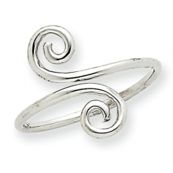 14k White Gold Swirl Toe Ring