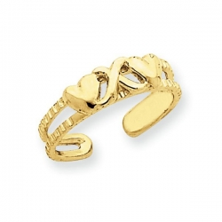 14k Yellow Gold Hearts    X  Toe Ring