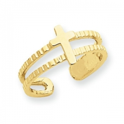 14k Yellow Gold Cross Toe Ring