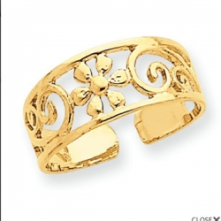 14k Yellow Gold Floral Toe Ring