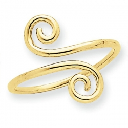 14k Yellow Gold Swirl Toe Ring
