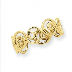 14k Yellow Gold Scroll Toe Ring