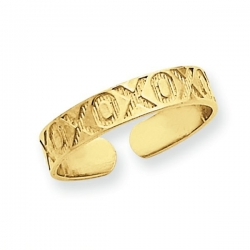 14k Yellow Gold XOXO Toe Ring