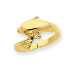 14k Yellow Gold Dolphin Toe Ring