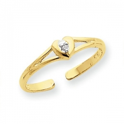14k Yellow Gold Heart With  01 Ct Diamond Toe Ring