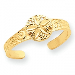 14k Yellow Gold Sand Dollar Toe Ring