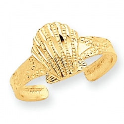 14k Yellow Gold Scallop Shell Toe Ring