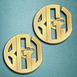 Monogram Round Block Cutout Post Earrings