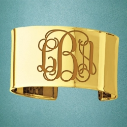 14K Yellow Gold Fancy Cuff Monogram Bangle Bracelet