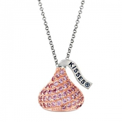 Sterling Silver Hershey s Kiss Pink CZ Pendant with Chain