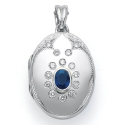 Victor Mayer 18K Gold Diamond Locket With Sapphire