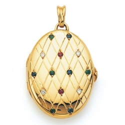 Victor Mayer 18K Gold Diamond Locket With Assorted Gems