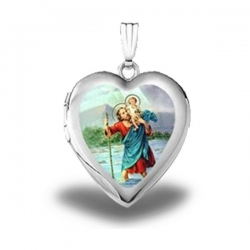 Sterling Silver Saint Christopher Heart Locket