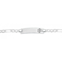 Sterling Silver Child s Medical ID Bracelet w  Figaro Chain