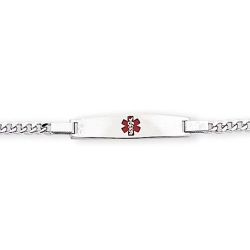 Sterling Silver Child s Medical ID Red Enamel Bracelet w  Curb Chain