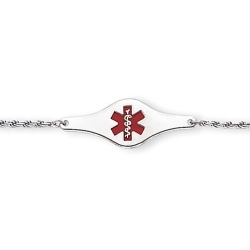 Sterling Silver Child s Medical ID Red Enamel Bracelet w  Rope Chain