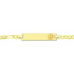 14K Yellow Gold Filled Children s Medical ID Bracelet w  Figaro Chain