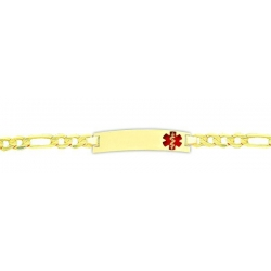 14K Yellow Gold Filled Children s Medical ID Bracelet w  Figaro Chain with Enamel