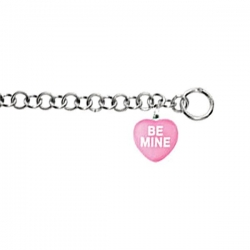 Sweethearts Enamel  Be Mine  Heart Charm on 7 5  Bracelet