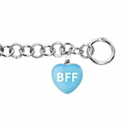Sweethearts Enamel  BFF  Heart Charm on 7 5  Bracelet