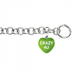 Sweethearts Enamel  Crazy 4 U  Heart Charm on 7 5  Bracelet