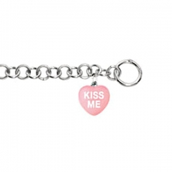 Sweethearts Enamel  Kiss Me  Heart Charm on 7 5  Bracelet