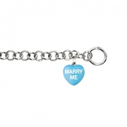 Sweethearts Enamel  Marry Me  Heart Charm on 7 5  Bracelet
