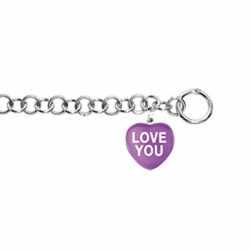 Sweethearts Enamel  Love You  Heart Charm on 7 5  Bracelet