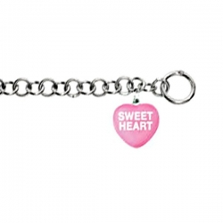 Sweethearts Enamel  Sweet Heart  Heart Charm on 7 5  Bracelet