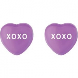 Sweethearts Enamel  XOXO  Heart Shaped Sterling Silver Earrings