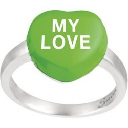 Sweethearts Enamel  My Love  Heart Shaped Sterling Silver Ring