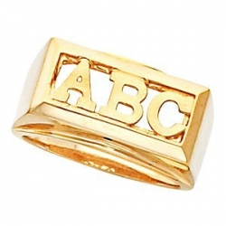 Monogram Block  3 Letter Initial Ring