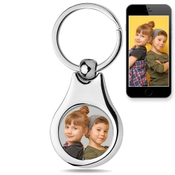 Stainless Steel Engravable Photo Laser Keychain