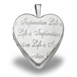Sterling Silver   Life is Inspiration   Heart Locket