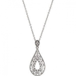 Sterling Silver Tear Drop Diamond Pendant